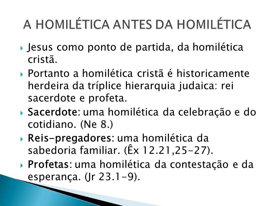 Jesus como ponto de partida, da homilética cristã. Portanto a homilética cristã é historicamente herdeira da tríplice hierarquia judaica: rei sacerdot
