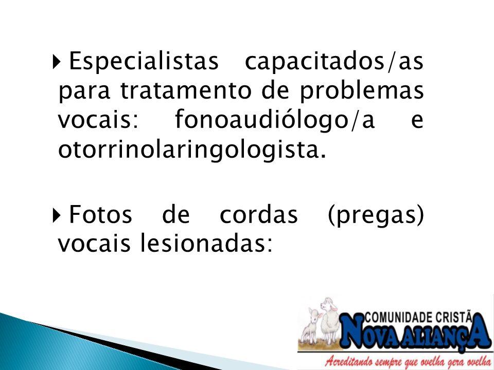 Especialistas capacitados/as para tratamento de problemas vocais: fonoaudiólogo/a e otorrinolaringologista. Fotos de cordas (pregas) vocais lesionadas