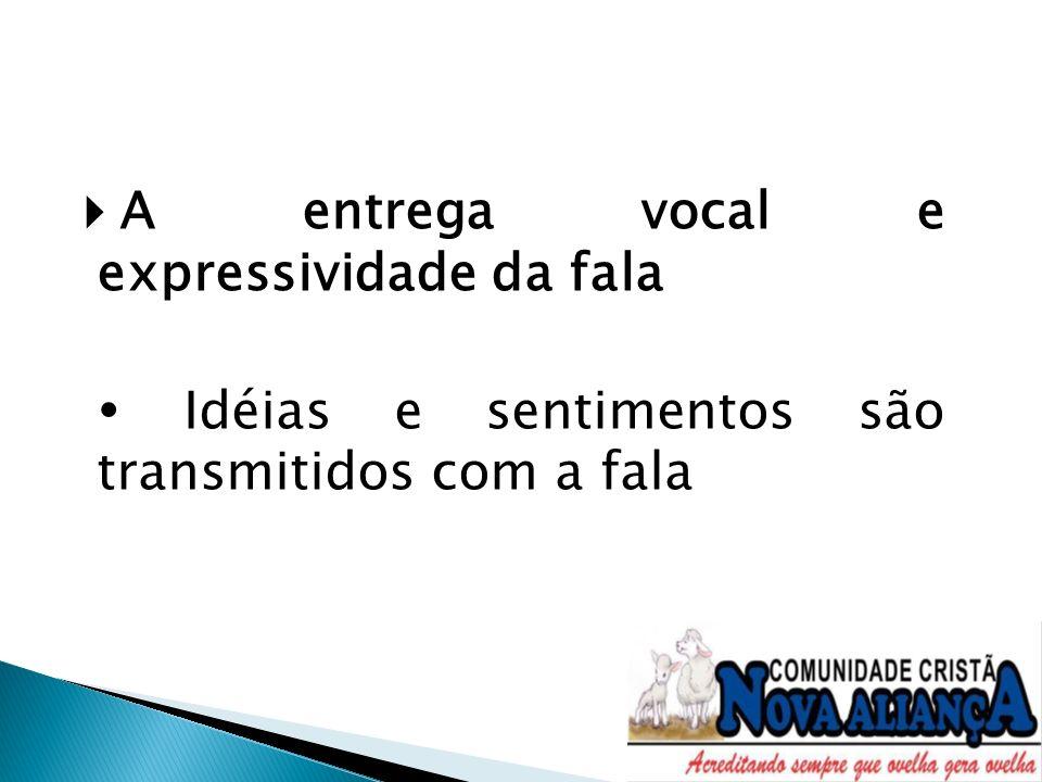 A entrega vocal e expressividade da fala Idéias e sentimentos são transmitidos com a fala