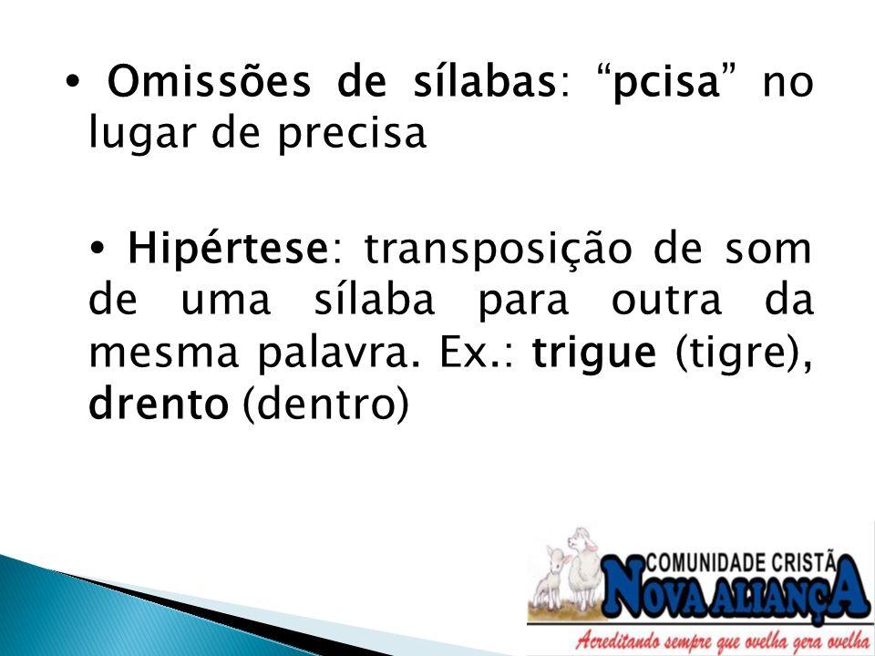 Omissões de sílabas: pcisa no lugar de precisa Hipértese: transposição de som de uma sílaba para outra da mesma palavra. Ex.: trigue (tigre), drento (