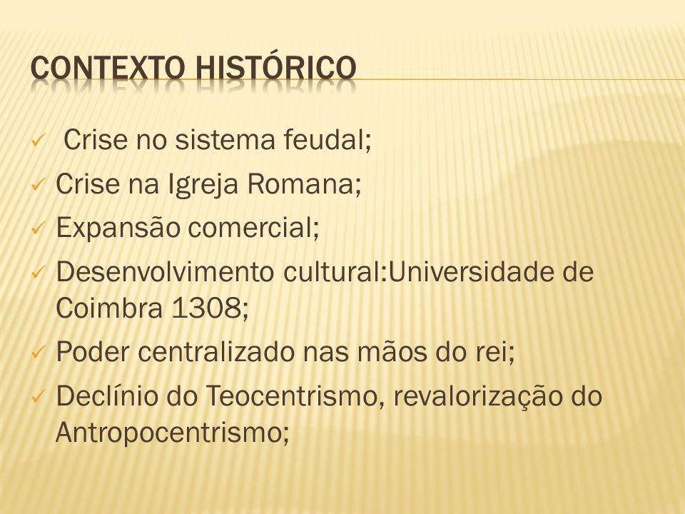 Crise no sistema feudal; Crise na Igreja Romana; Expansão comercial; Desenvolvimento cultural:Universidade de Coimbra 1308; Poder centralizado nas mão