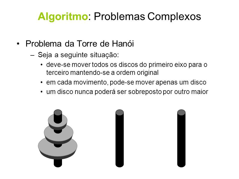 Problema da Torre de Hanói –Seja a seguinte situação: deve-se mover todos os discos do primeiro eixo para o terceiro mantendo-se a ordem original em c