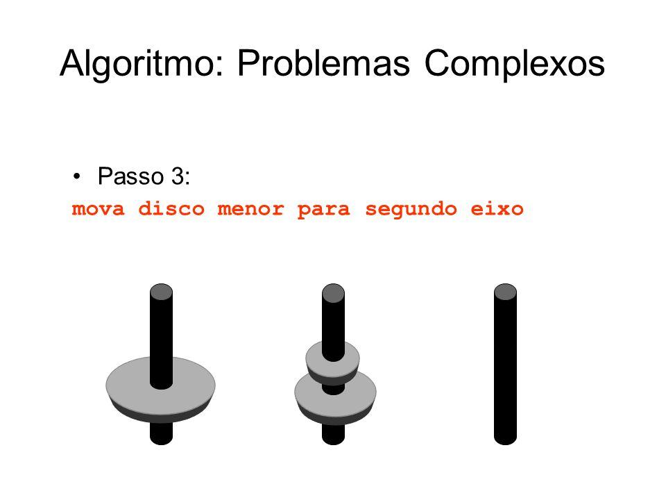 Passo 3: mova disco menor para segundo eixo Algoritmo: Problemas Complexos