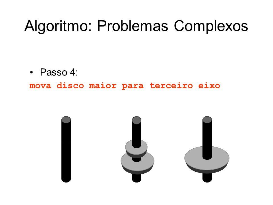 Passo 4: mova disco maior para terceiro eixo Algoritmo: Problemas Complexos