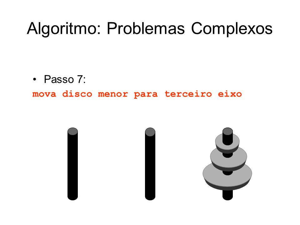 Passo 7: mova disco menor para terceiro eixo Algoritmo: Problemas Complexos