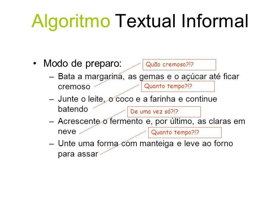Lógica de Programação & Algoritmo Algoritmo para ligar de um telefone público - Seqüência Início 1.Tirar o fone do gancho; 2.Ouvir o sinal de linha; 3.Introduzir o cartão; 4.Teclar o número desejado; 5.Conversar; 6.Desligar; 7.Retirar o cartão; Fim.