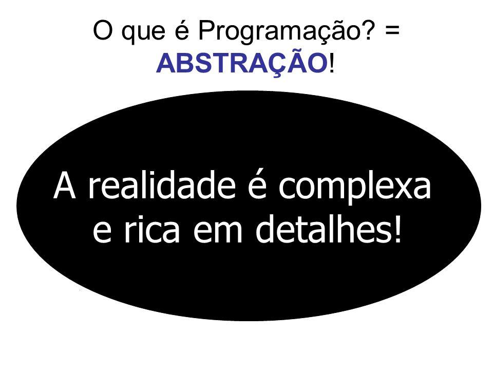 O que é Programação? = ABSTRAÇÃO! A realidade é complexa e rica em detalhes!