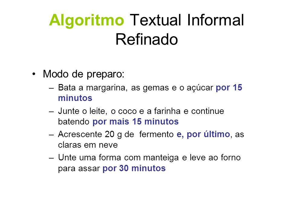 Algoritmo Gráfico-Textual Informal Montagem de um Aeromodelo –Material Cola especial para plásticos Estilete Lixas finas Durex ou fita crepe Pregador de roupas, elásticos
