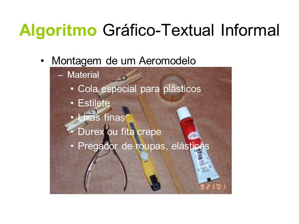 Algoritmo Gráfico-Textual Informal Montagem de um Aeromodelo –Material Cola especial para plásticos Estilete Lixas finas Durex ou fita crepe Pregador