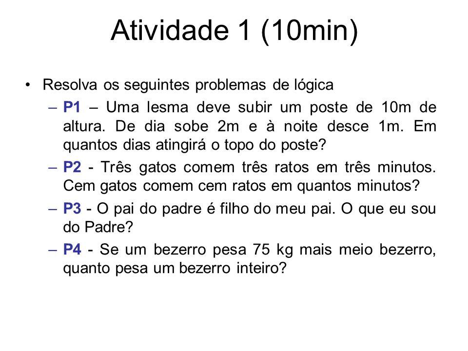 Atividade 1 (10min) Resolva os seguintes problemas de lógica –P1 – Uma lesma deve subir um poste de 10m de altura. De dia sobe 2m e à noite desce 1m.