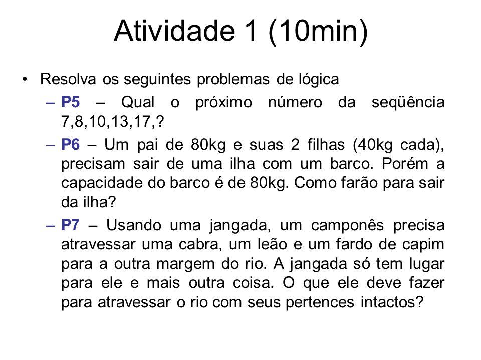 Atividade 1 (10min) Resolva os seguintes problemas de lógica –P5 – Qual o próximo número da seqüência 7,8,10,13,17,? –P6 – Um pai de 80kg e suas 2 fil