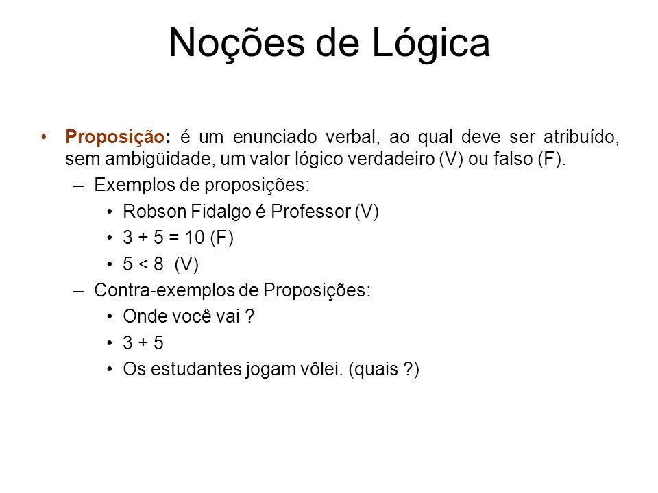 Noções de Lógica Proposição: é um enunciado verbal, ao qual deve ser atribuído, sem ambigüidade, um valor lógico verdadeiro (V) ou falso (F). –Exemplo