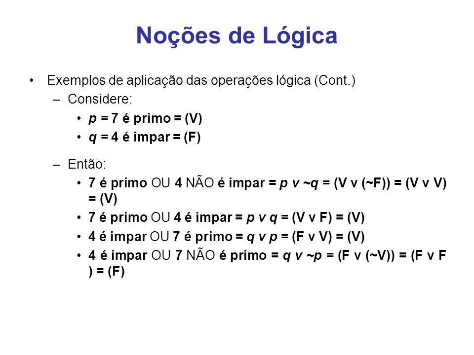 Noções de Lógica Exemplos de aplicação das operações lógica (Cont.) –Considere: p = 7 é primo = (V) q = 4 é impar = (F) –Então: 7 é primo OU 4 NÃO é i