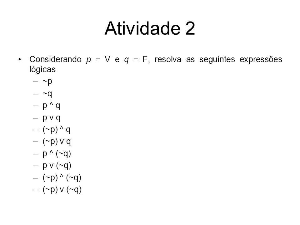 Atividade 2 Considerando p = V e q = F, resolva as seguintes expressões lógicas –~p –~q –p ^ q –p v q –(~p) ^ q –(~p) v q –p ^ (~q) –p v (~q) –(~p) ^