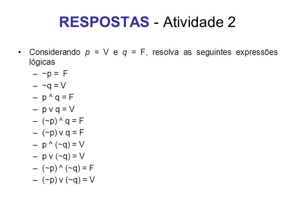 RESPOSTAS - Atividade 2 Considerando p = V e q = F, resolva as seguintes expressões lógicas –~p = F –~q = V –p ^ q = F –p v q = V –(~p) ^ q = F –(~p)