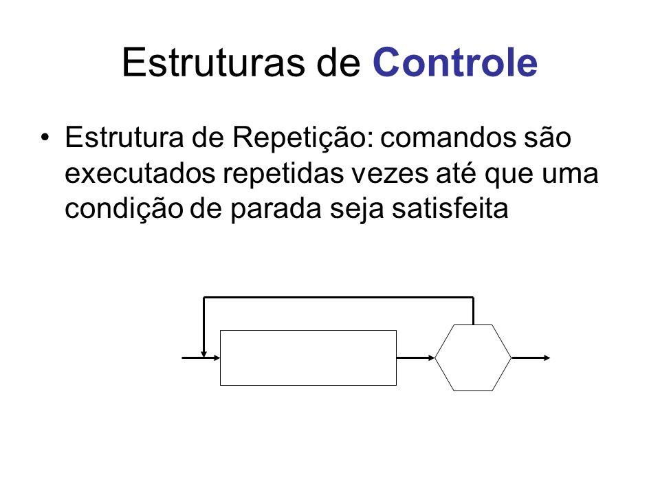 Estruturas de Controle Estrutura de Repetição: comandos são executados repetidas vezes até que uma condição de parada seja satisfeita
