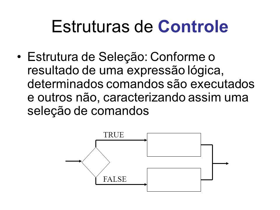 Estruturas de Controle Estrutura de Seleção: Conforme o resultado de uma expressão lógica, determinados comandos são executados e outros não, caracter
