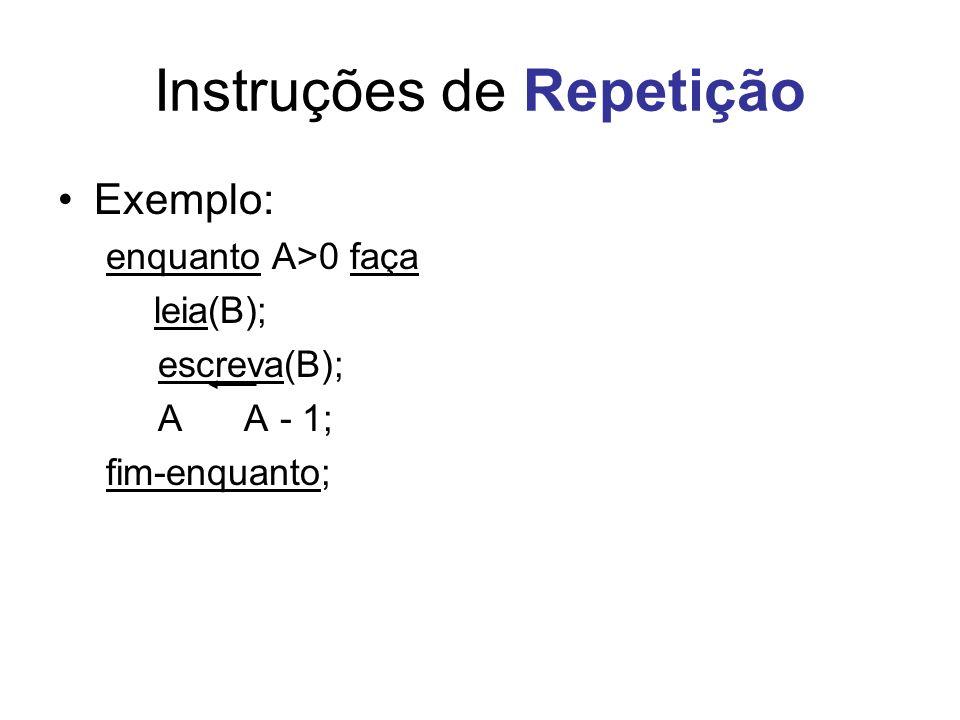 Instruções de Repetição Exemplo: enquanto A>0 faça leia(B); escreva(B); A A - 1; fim-enquanto;