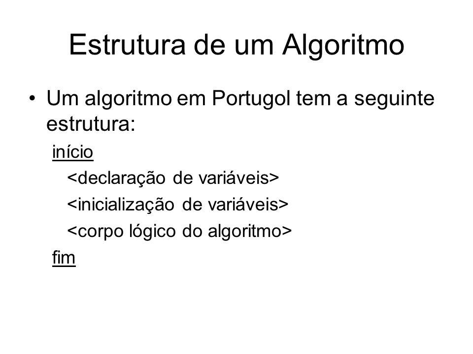 Estrutura de um Algoritmo Um algoritmo em Portugol tem a seguinte estrutura: início fim