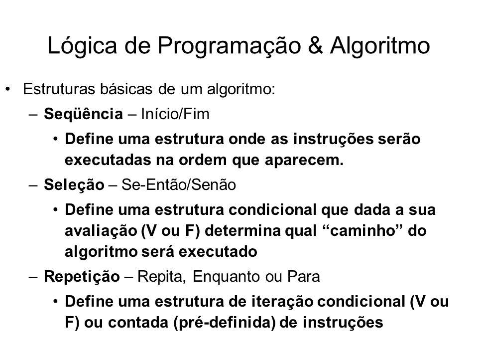 Lógica de Programação & Algoritmo Estruturas básicas de um algoritmo: –Seqüência – Início/Fim Define uma estrutura onde as instruções serão executadas