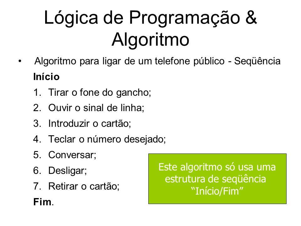 Lógica de Programação & Algoritmo Algoritmo para ligar de um telefone público - Seqüência Início 1.Tirar o fone do gancho; 2.Ouvir o sinal de linha; 3