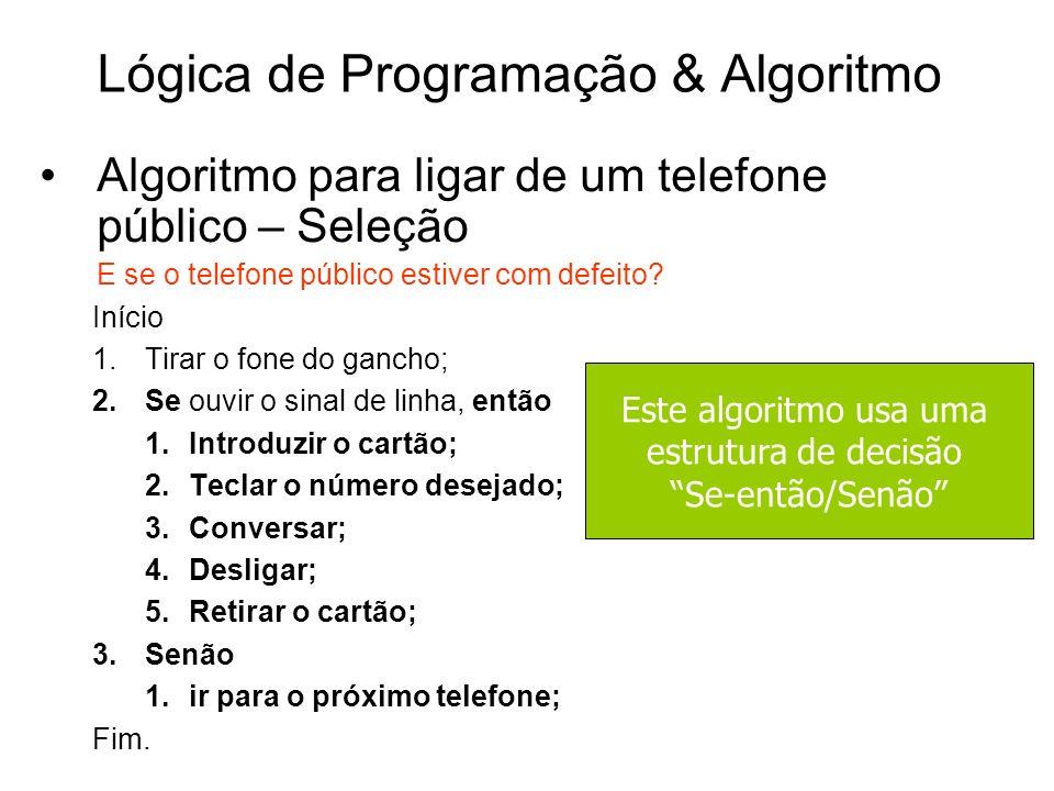 Lógica de Programação & Algoritmo Algoritmo para ligar de um telefone público – Seleção E se o telefone público estiver com defeito? Início 1.Tirar o