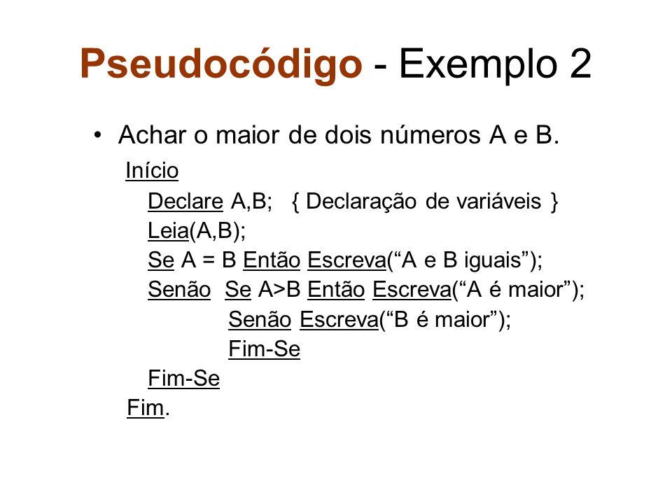 Pseudocódigo - Exemplo 2 Achar o maior de dois números A e B. Início Declare A,B; { Declaração de variáveis } Leia(A,B); Se A = B Então Escreva(A e B