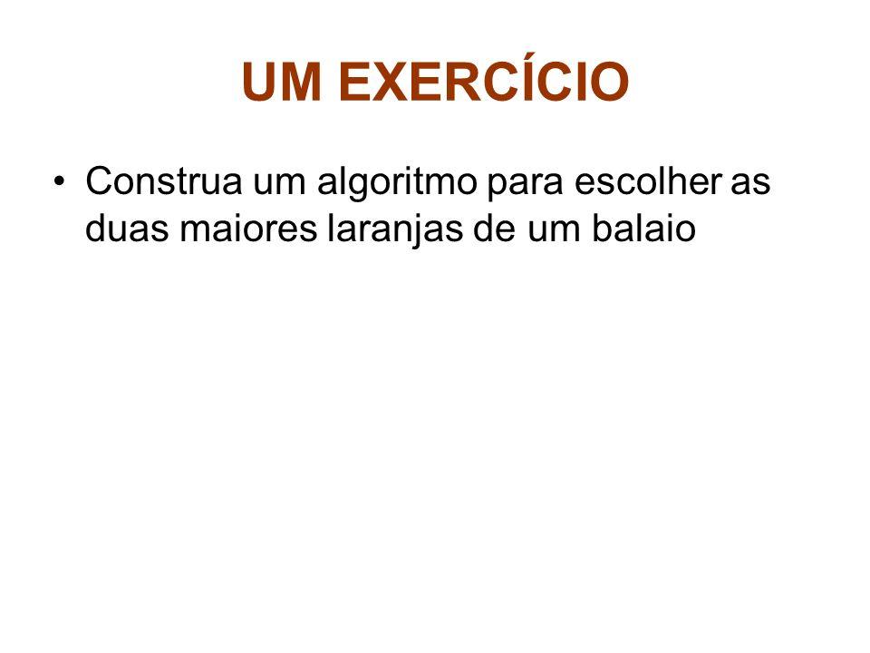 UM EXERCÍCIO Construa um algoritmo para escolher as duas maiores laranjas de um balaio