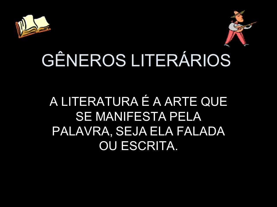 GÊNEROS LITERÁRIOS A LITERATURA É A ARTE QUE SE MANIFESTA PELA PALAVRA, SEJA ELA FALADA OU ESCRITA.