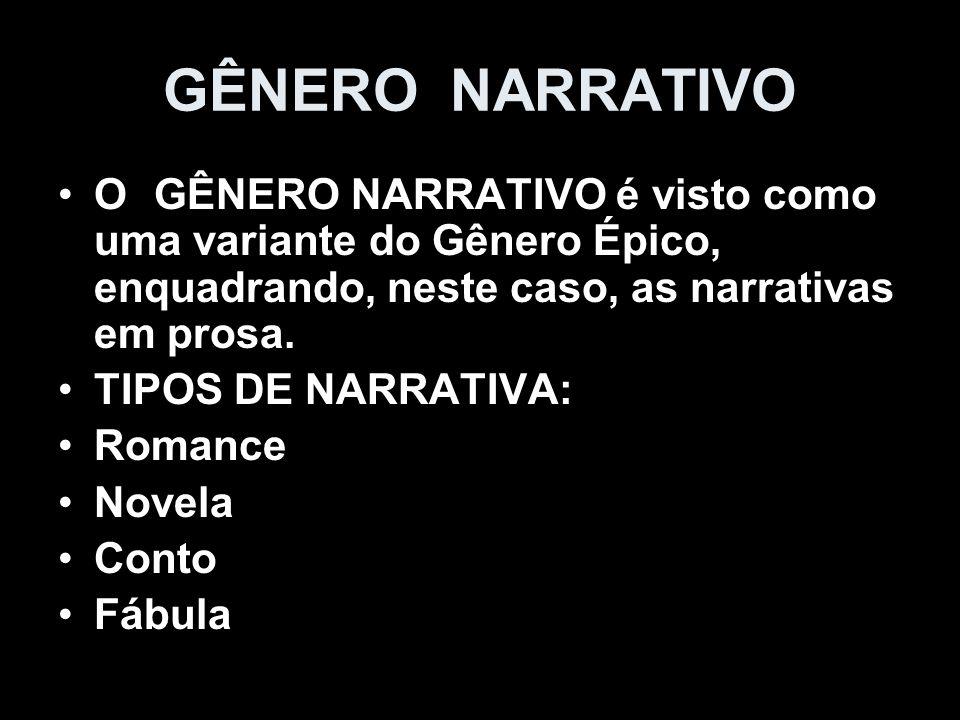 GÊNERO NARRATIVO O GÊNERO NARRATIVO é visto como uma variante do Gênero Épico, enquadrando, neste caso, as narrativas em prosa. TIPOS DE NARRATIVA: Ro
