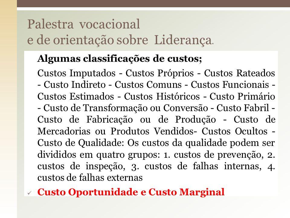 Palestra vocacional e de orientação sobre Liderança. Algumas classificações de custos; Custos Imputados - Custos Próprios - Custos Rateados - Custo In