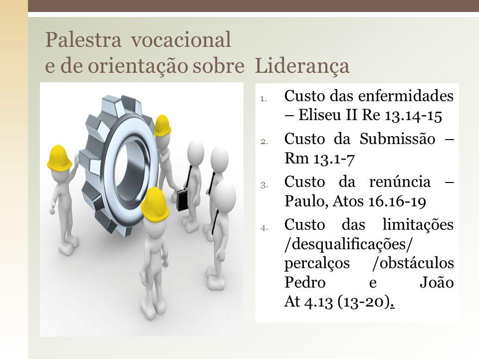 Palestra vocacional e de orientação sobre Liderança 1. Custo das enfermidades – Eliseu II Re 13.14-15 2. Custo da Submissão – Rm 13.1-7 3. Custo da re