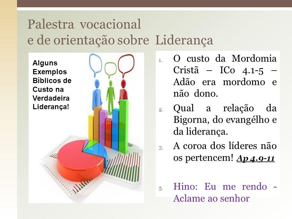 Palestra vocacional e de orientação sobre Liderança 1. O custo da Mordomia Cristã – ICo 4.1-5 – Adão era mordomo e não dono. 2. Qual a relação da Bigo