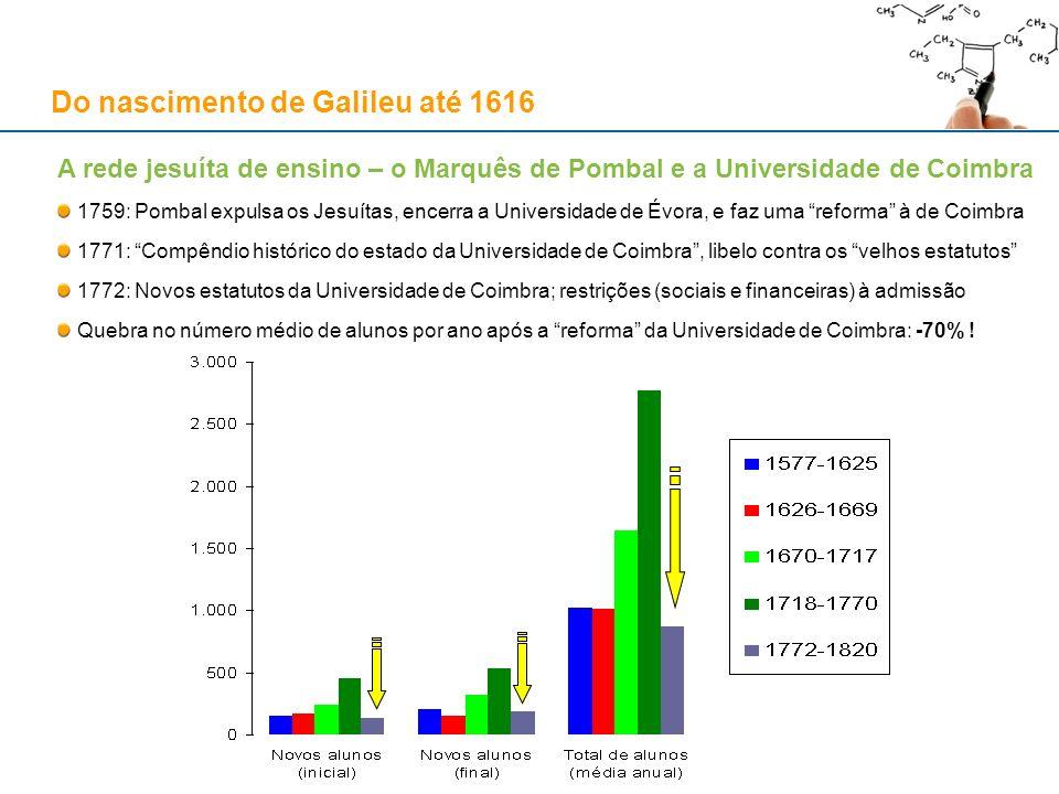 Do nascimento de Galileu até 1616 A rede jesuíta de ensino – o Marquês de Pombal e a Universidade de Coimbra 1759: Pombal expulsa os Jesuítas, encerra
