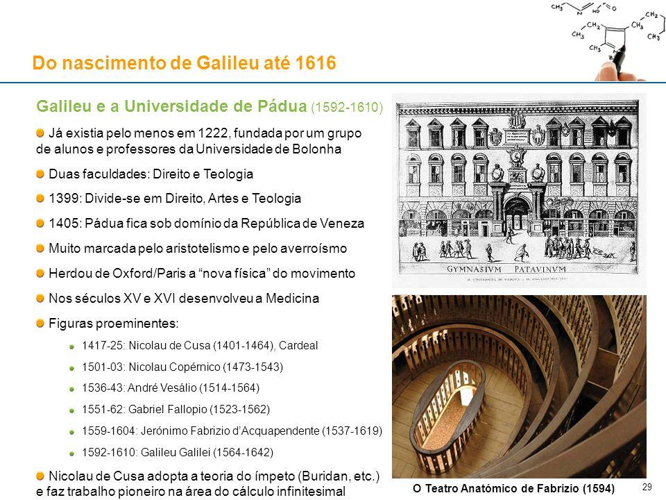 Galileu e a Universidade de Pádua (1592-1610) Já existia pelo menos em 1222, fundada por um grupo de alunos e professores da Universidade de Bolonha D