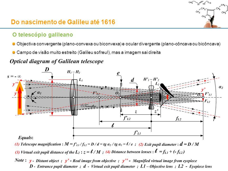 O telescópio galileano Objectiva convergente (plano-convexa ou biconvexa) e ocular divergente (plano-côncava ou bicôncava) Campo de visão muito estrei