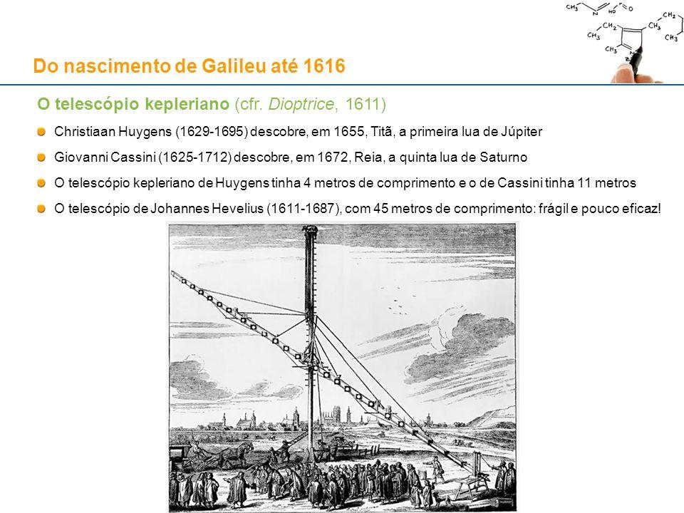 O telescópio kepleriano (cfr. Dioptrice, 1611) Christiaan Huygens (1629-1695) descobre, em 1655, Titã, a primeira lua de Júpiter Giovanni Cassini (162