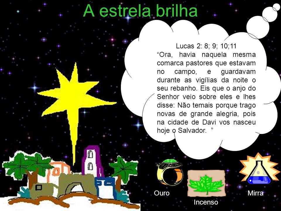 A estrela brilha Lucas 2: 8; 9; 10;11 Ora, havia naquela mesma comarca pastores que estavam no campo, e guardavam durante as vigílias da noite o seu r