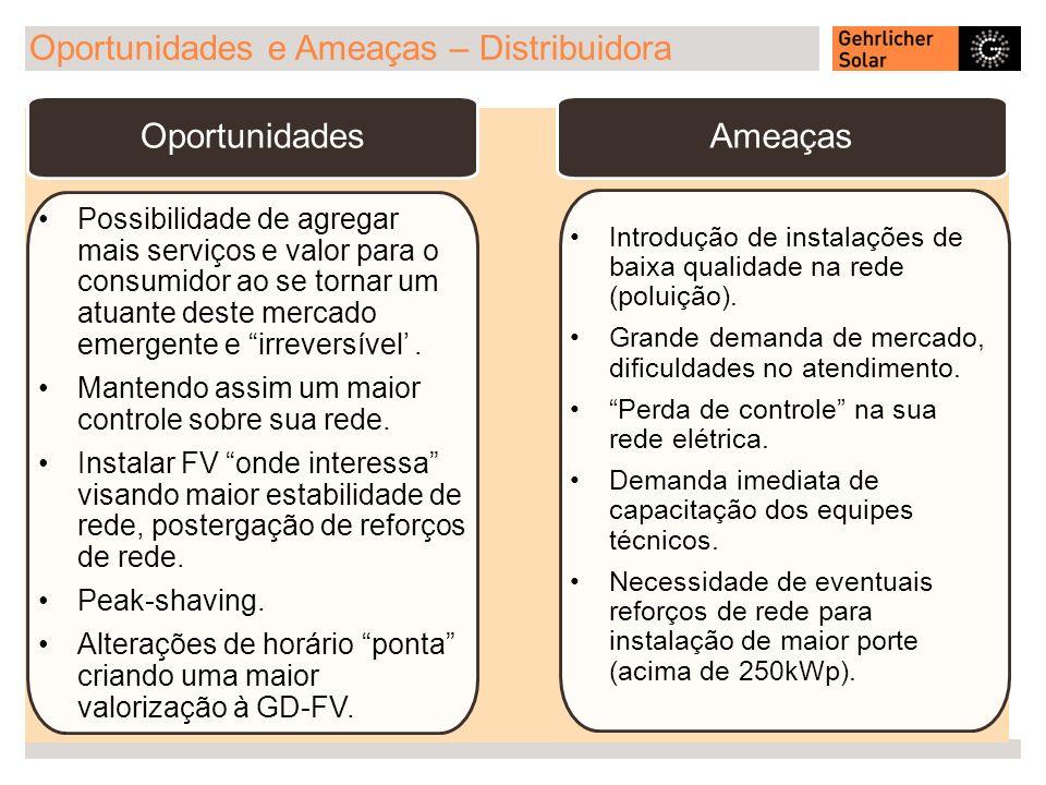 Oportunidades e Ameaças – Distribuidora Oportunidades Possibilidade de agregar mais serviços e valor para o consumidor ao se tornar um atuante deste m