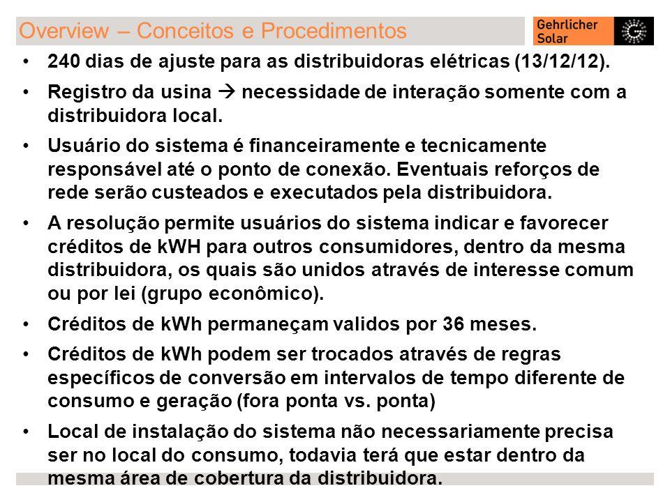 Overview – Conceitos e Procedimentos 240 dias de ajuste para as distribuidoras elétricas (13/12/12). Registro da usina necessidade de interação soment
