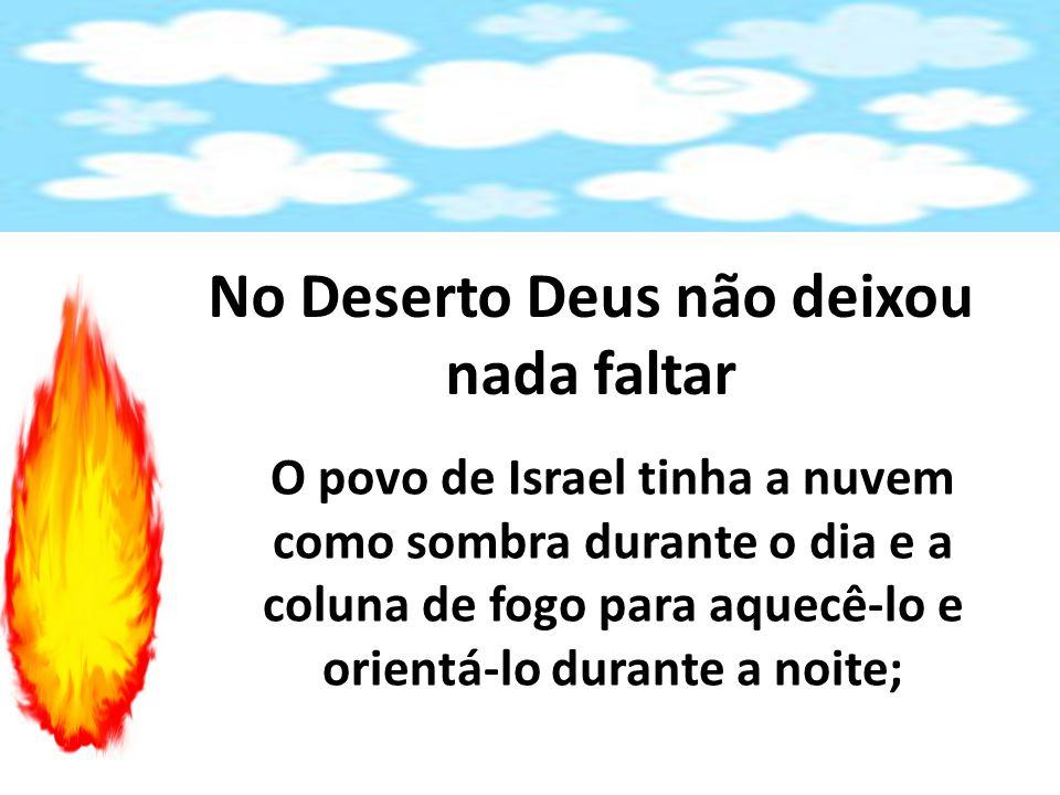 No Deserto Deus não deixou nada faltar O povo de Israel tinha a nuvem como sombra durante o dia e a coluna de fogo para aquecê-lo e orientá-lo durante