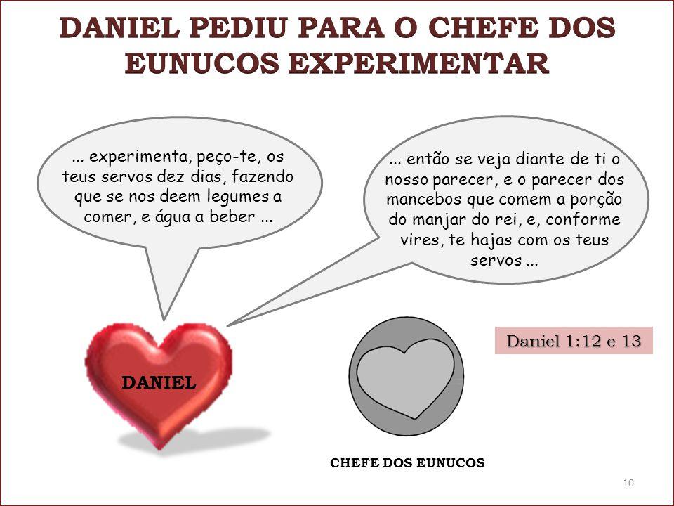 Daniel 1:12 e 13... experimenta, peço-te, os teus servos dez dias, fazendo que se nos deem legumes a comer, e água a beber... CHEFE DOS EUNUCOS 10 DAN