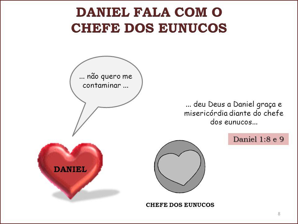 Daniel 1:8 e 9... não quero me contaminar... CHEFE DOS EUNUCOS 8 DANIEL... deu Deus a Daniel graça e misericórdia diante do chefe dos eunucos...