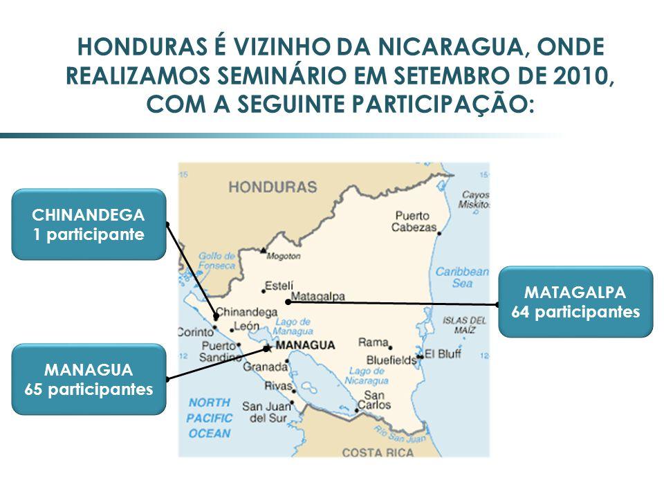 HONDURAS É VIZINHO DA NICARAGUA, ONDE REALIZAMOS SEMINÁRIO EM SETEMBRO DE 2010, COM A SEGUINTE PARTICIPAÇÃO: CHINANDEGA 1 participante MANAGUA 65 part