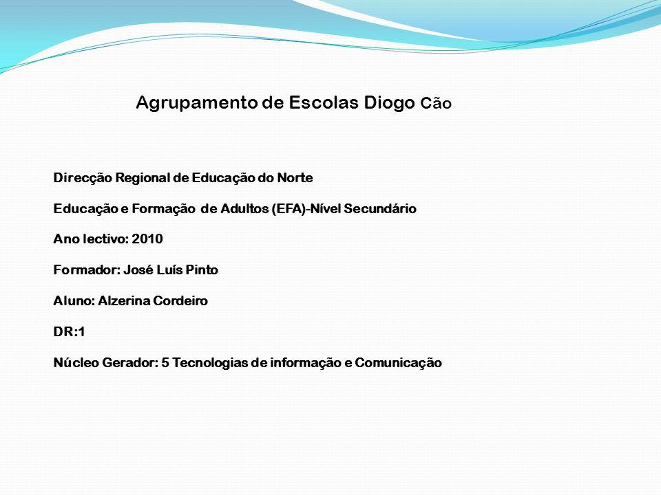 Agrupamento de Escolas Diogo Cão Direcção Regional de Educação do Norte Educação e Formação de Adultos (EFA)-Nível Secundário Ano lectivo: 2010 Formad