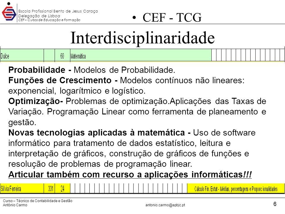 Curso – Técnico de Contabilidade e Gestão António Carmoantonio.carmo@epbjc.pt 6 Escola Profissional Bento de Jesus Caraça Delegação de Lisboa CEF – Cu
