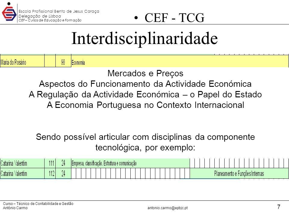Curso – Técnico de Contabilidade e Gestão António Carmoantonio.carmo@epbjc.pt 7 Escola Profissional Bento de Jesus Caraça Delegação de Lisboa CEF – Cu