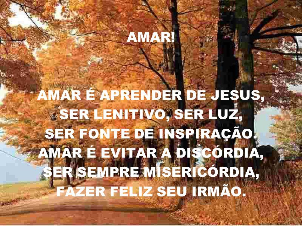 AMAR.AMAR É APRENDER DE JESUS, SER LENITIVO, SER LUZ, SER FONTE DE INSPIRAÇÃO.