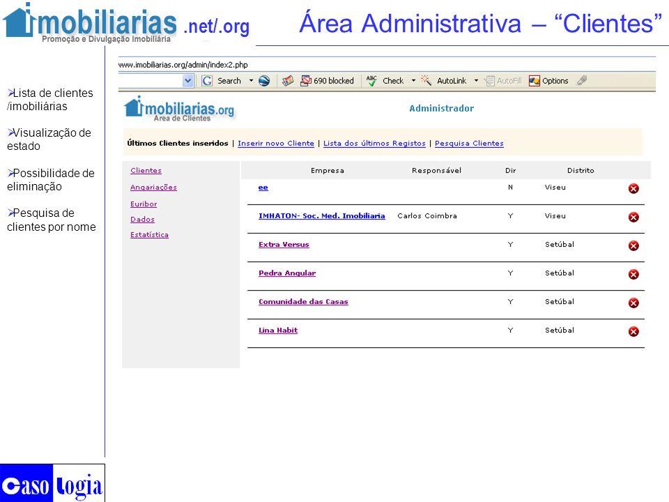 .net/.org Área Administrativa – Clientes Lista de clientes /imobiliárias Visualização de estado Possibilidade de eliminação Pesquisa de clientes por n