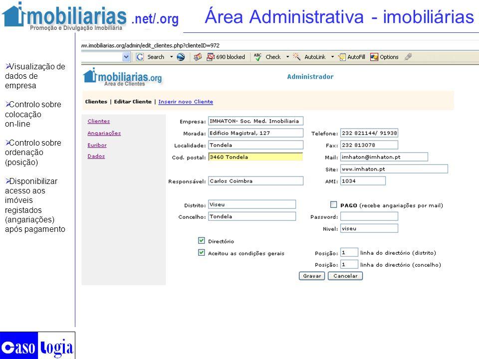 .net/.org Área Administrativa - imobiliárias Visualização de dados de empresa Controlo sobre colocação on-line Controlo sobre ordenação (posição) Disp